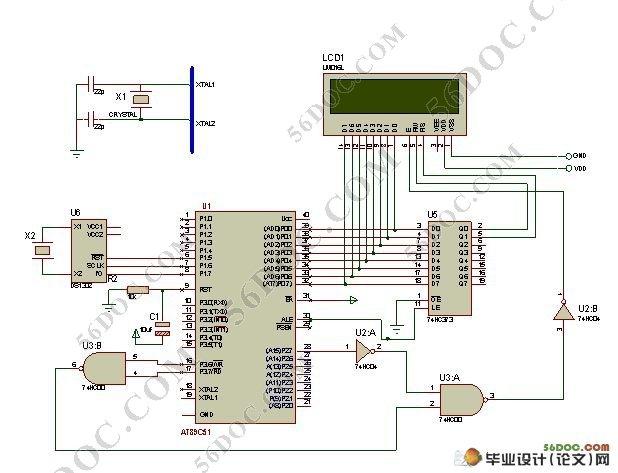 单片机电子日历设计(附电路原理图,硬件电路图,元件图