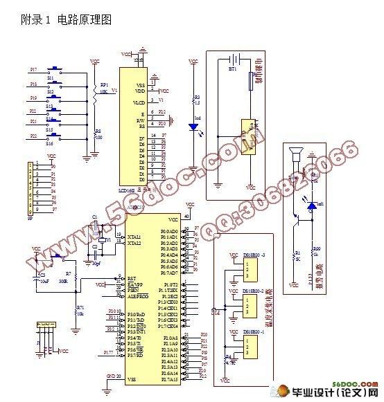 多路温度采集电路设计(附电路原理图,程序代码)(11000字) 【摘要】本毕业设计提出一种基于AT89C51单片机为核心的温度采集系统,并采用数字化单总线技术的设计方案应用于多路温度采集系统中。方案采用了一种新型数字温度传感器DS18B20,利用DS18B20温度传感器采集温度信号,通过单线总线传给AT89C51单片机,AT89C51单片机把数据通过液晶显示器LCD1602实时显示不同方位的温度变化。系统对多点的温度进行实时巡检,同时能够通过设定的指令对温度进行监控。单片机将从DS18B20发出的信息读取