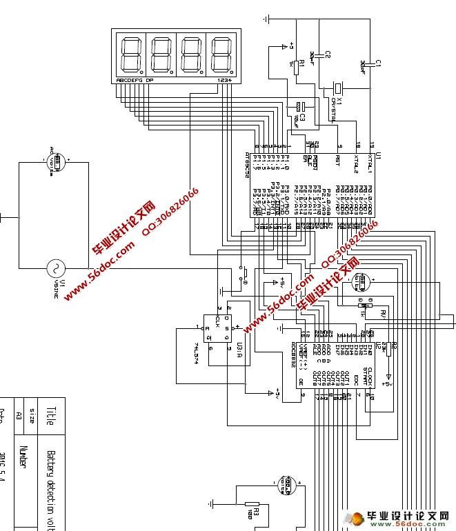 蓄电池智能检测系统设计(附程序,电路图,protetus仿真)(任务书,开题报告,外文翻译,中期检查表,论文说明书8600字) 摘 要 随着科学技术的快速发展,社会生活越来越先进,各种智能设备越来越多,本文内容是关于蓄电池的电压检测装置,用STC89C52单片机为核心,通过ADC0832将模拟电压转化为数字量,然后通过数码管显示出来。 本文先对各个子模块进行了讲解,分析了他们各自的功能,以及他们的实现原理,然后通过STC89C52单片机将他们集合到一起,通过编写代码使他们联系起来,共同实现对蓄电池的电压测