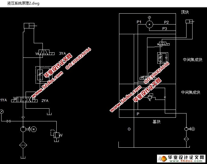在整个系统中通过控制各种电磁阀单向阀改变液压油的流动方向,进而