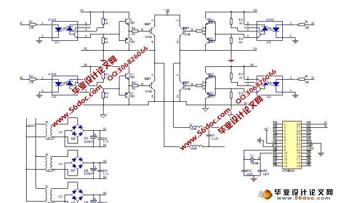 基于IGBT的变频电源设计(SPWM逆变技术)(附程序,电路图)(任务书,开题报告,中期报告,外文翻译,论文16800字) Based on IGBT frequency conversion power source design 本设计是基于SPWM逆变技术,将由单片机产生的SPWM波输出作为IGBT的驱动信号,最后通过低通滤波,从而在输出端得到一个无失真的正弦信号波形。为了便于观察输出端的电压值,用数码管监测输出电压值。此设计电路可以产生频率稳定度、精度高的正弦波。 本设计主要是采用等效面积算法来计