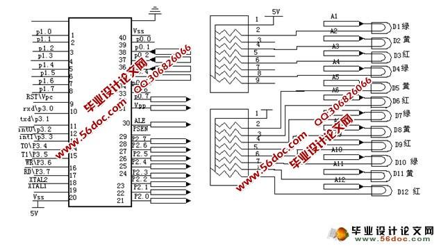显示时间直接通过at89c51的p2口输出,由cd4511驱动led数码管显示红灯