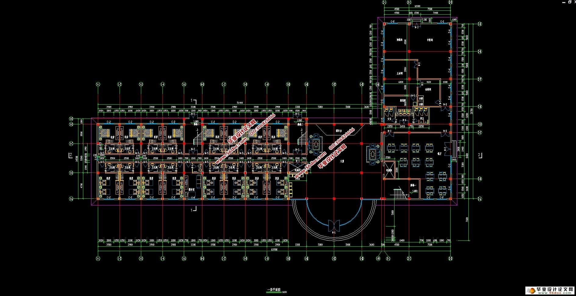 """五层5162平米秦皇岛自助式宾馆设计(建筑图,结构图,总平面图)(计算书7600字,建筑图8张,结构图5张) 工程概况 本设计位于秦皇岛市某大学校内,是一所新建的学生宿舍楼。总建筑面积5162m2。此建筑采用框架结构,整体现浇。根据甲方提出的宿舍使用功能的要求,本建筑采用相同的开间与进深平面规整,对称,有利于建筑物的抗震。屋面防水采用""""堵""""和""""导""""相结合的方式。以""""堵""""为主,是屋面处设有两毡三油柔性防水层;屋顶排水以""""导&"""