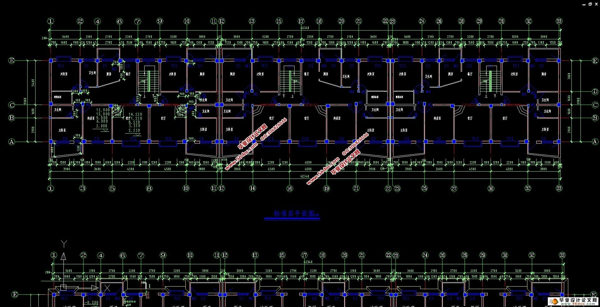 七层4320平米小区住宅楼框架结构设计(建筑结构图)