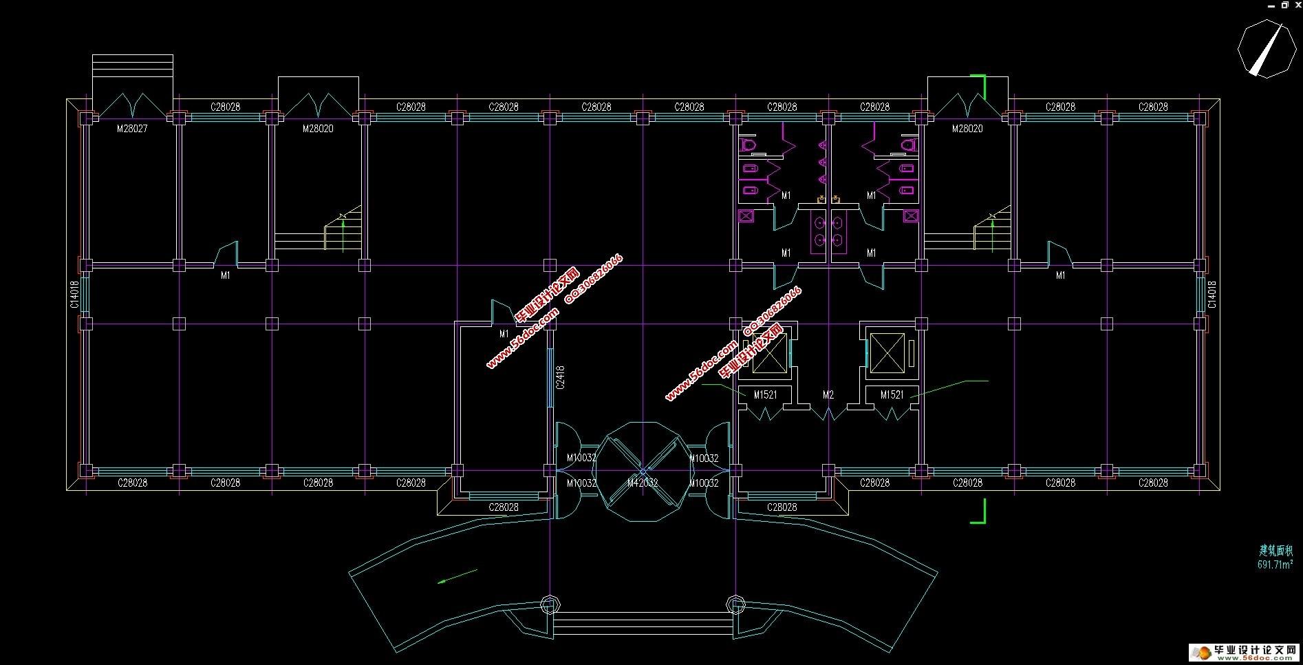 四层2461平米办公楼框架结构设计(建筑结构图,施工组织)