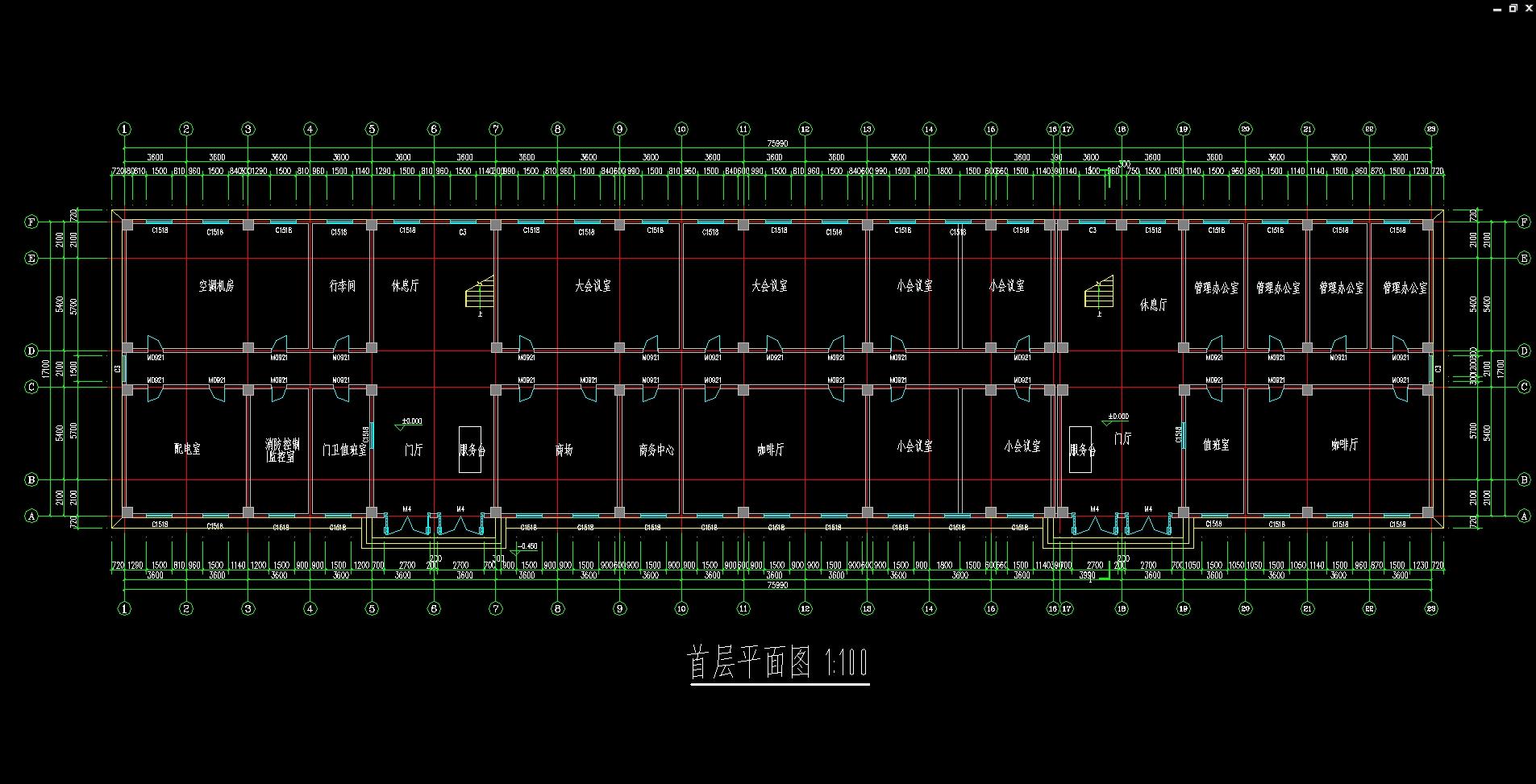 五层6600平米晨曦宾馆设计(建筑图,结构图,总平面图)