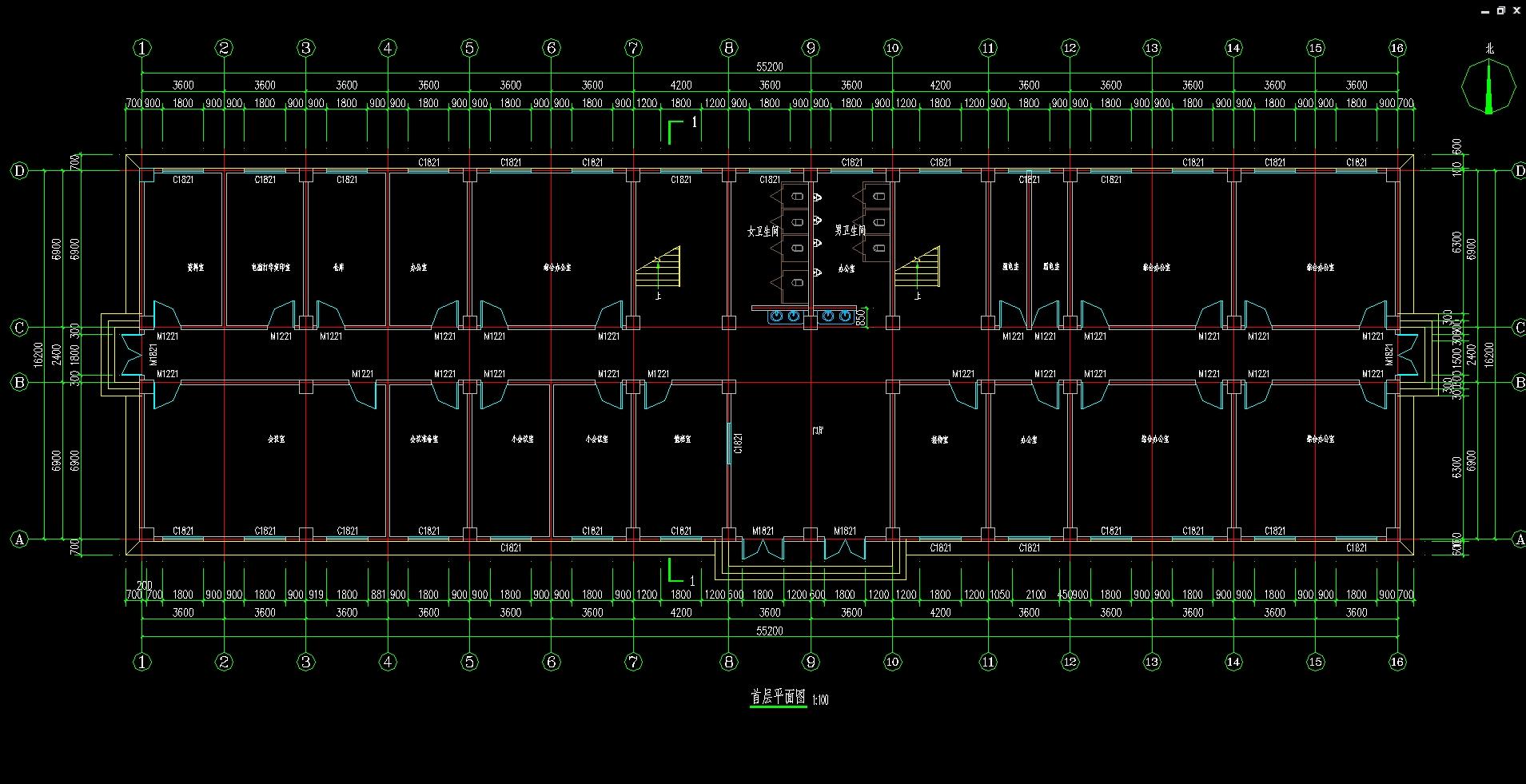 五层4540平米供电局综合楼设计(建筑图,结构图)_毕业