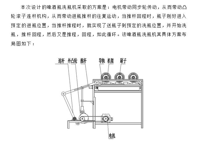 通过三相异步电机带动同步轮传动,从而带动凸轮滚子连杆机构动作,从而