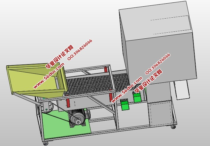 谷物清选机的设计(含CAD零件装配图,SolidWorks三维图)(论文说明书9100字,CAD图纸11张,SolidWorks三维图) 当今社会,农业机械在机械工业中占据的比例越来越大,随着农耕的生产自动化,各种各样的农业机械将会出现并使用,本课题来源于当今社会机械工业谷物清选设备的创新和更新换代基础之上,通过设计出谷物清选机,从而来满足当今社会谷物清选设备不足的缺陷。 国内谷物清选机设备的研发及制造要与全球号召的高效经济、清选质量好,效率高等主题保持一致。近期对机械行业中谷物清选机的使用情况进行了调查